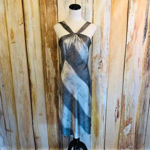 Antonio Melani Gray & Silver Halter Dress sz 6 EUC